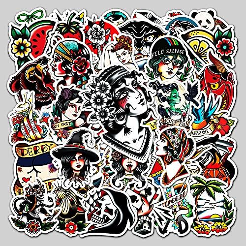BUCUO personalità Tattoo Fashion Sticker Laptop Bagaglio Auto Frigo Scooter Decorazione Sticker 50 Pz