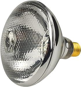 BONGBADA 2 Pack Heat Lamp Clear Infrared Bulbs PAR38/125 Watts Glass Lamp Bulb for Food Service, Brooder Bulb, Chicks, Pet, Bathroom, Light Therapy Use E26 Base, Flood Light Heat Lamp Bulb