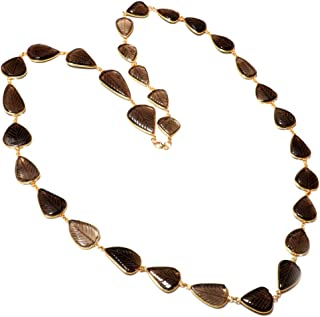 """TIBETAN SILVER Genuine Smoky Topaz Gemstone 34"""" (INCH) Long Chain Necklace for Women, 925 Sterling Silver and Gold Plated Leaf Engraved Design Elegant Party Modern Unique Fashion Handmade Jewellery"""