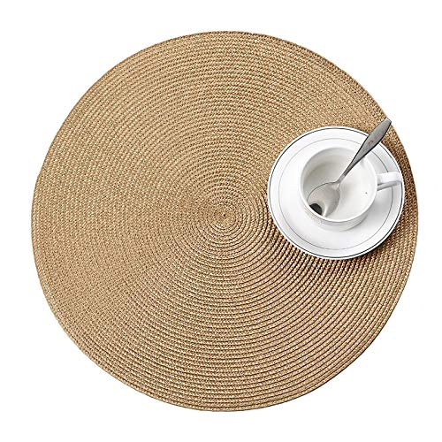 Tivivose 4 Pcs/Set Round Weave Placemat Fashion PP Dining Table Mat Disc Pads Bowl Pad Coasters Waterproof Table Cloth Pad 38cm Diameter (Color : I)