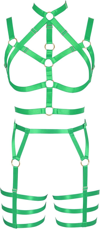 Garter belt set Lingerie cage Full body harness for women Halloween Punk Gothic Plus size Chest strap Bra Festival rave