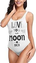 Women One Piece Swimsuit Swimwear,Boho Hipster Valentines Sketch Art Style Phrase Stars Arrows Comets Vintage Design