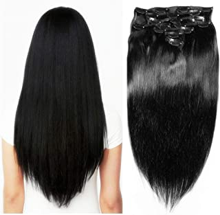 Friskylov 24Inch Straight Human Hair Clip in Hair Extensions Double Weft 120g 100% Real Human Hair Extensions Jet Black Clip on Hair Silky Straight Thick Hair 8Pcs/Lot 20Clips