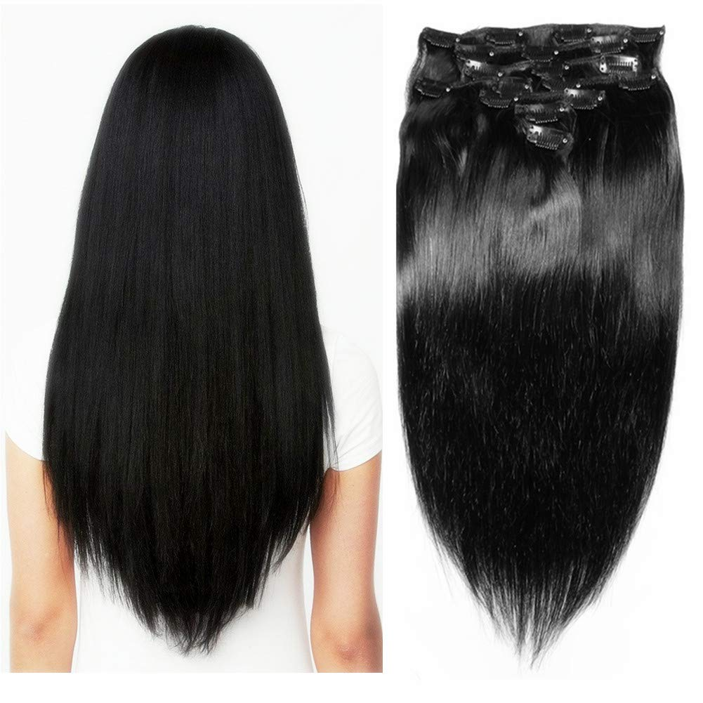 Houston Mall Friskylov 24Inch 2021 Straight Human Hair Dou Clip Extensions in
