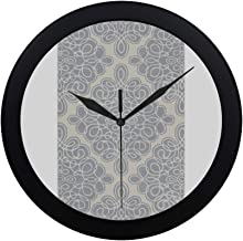 Modern Simple Candice Olson Hand Tufted White Cane Geometric Pat Pattern Wall Clock Indoor Non-ticking Silent Quartz Quiet Sweep Movement Wall Clcok For Office,bathroom,livingroom Decorative 9.65 Inch