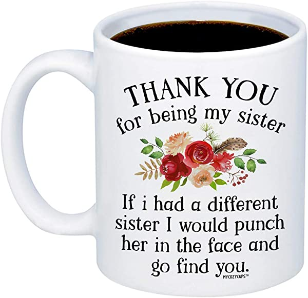 MyCozyCups Funny Gifts For Sister If I Had A Different Sister I Would Punch Her In The Face And Go Find You Coffee Mug Sarcastic 15oz Cup For Your Best Friend Sister Sibling Birthday Christmas