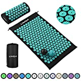 Lixada Acupressure Mat and Pillow Set with 2pcs Spiky Massage Balls for Back/Neck/Feet Pain Relief and Muscle Relaxation with Carry Bag (Black & Turquoise Green)