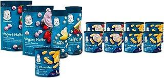 Gerber Up Age Snacks Variety Pack - Puffs, Yogurt Melts & Lil Crunchies, 9Count & Lil Crunchies, Mild Cheddar & Veggie Di...