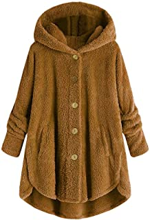 Women Plush Coat E-Scenery Plus Size Button Tops Hooded Loose Cardigan Wool Winter Solid Overcoat