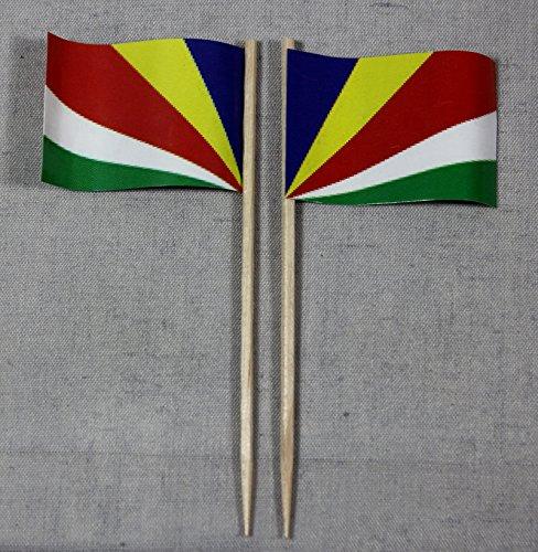 Buddel-Bini Party-Picker Flagge Seychellen Papierfähnchen in Profiqualität 50 Stück Beutel Offsetdruck Riesenauswahl aus eigener Herstellung