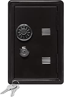 "Kid's Coin Bank Locker Safe with Single Digit Combination Lock and Key - 7"" High x 4"" x 3.9"" Black"