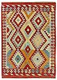 HAMID Alfombra Kilim Herat - 100% Lana Tejida a Mano - Alfombra étnica de salón, Dormitorio, Comedor (168x125cm)