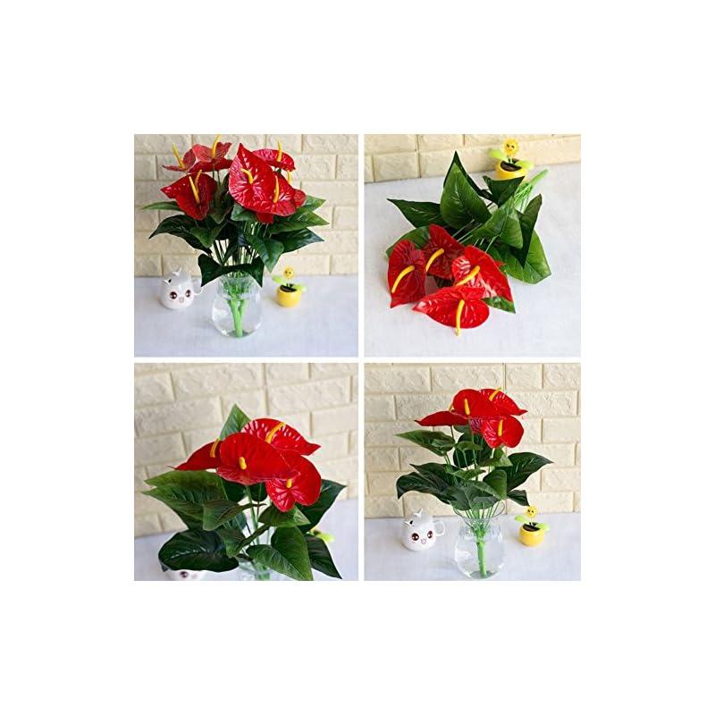 silk flower arrangements brawljrorty artificial flowers 1 bouquet/18pcs leaves artificial flower anthurium simulation office decoration for table home office wedding