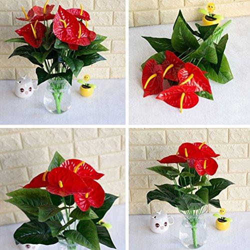 periwinkLuQ 1bouquet/18PCS foglie fiore artificiale Anthurium simulazione ufficio decorazione–verde + rosso