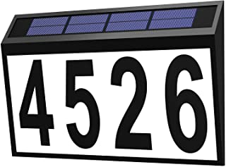 DIWANGUS Solar Powered Address Sign,LED Illuminated Waterproof House Number Solar Powered Address Plaque for Outdoor Walls...