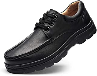 Classical Business Oxfords For Men Leisure Shoes Lace Up(Slip On Option) Genuine Leather Turn Toe Flat Anti-slip Breathable casual shoes (Color : Brown Slip on+Fleece, Size : 49 EU)