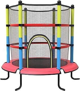 BIAOYU Studsmatta med säkerhetsinhägnad nät basket ring mini trampolin för barn utomhus inomhus familj bakgård skola under...
