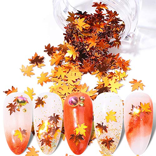 BFY Fall Nail Art Stickers Nail Art Sequins Nails Decorations Supply Manicure Tips Accessories 1 Box Autumn Gradient Maple Leaf Thin Nail Sequins