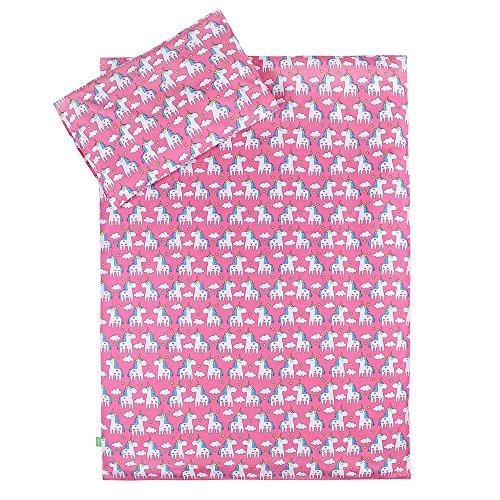 LULANDO Bettwäsche Kinderbettwäsche Bettset 2-teilig Kissenbezug und Bettbezug. Oberstoff 100% Baumwolle. Passend für Kinderbetten 70x140 cm. , Farbe:Unicorn / Pink