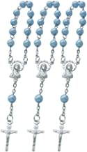 Baptism Favors Mini Rosaries for boy - (24PCS) Blue Beads with Silver Plated Accents - Recuerditos De Bautismo - Finger Rosaries - First Holy Communion - Wedding