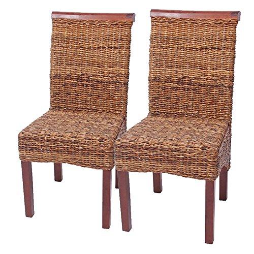 Mendler 2X Esszimmerstuhl Korbstuhl M45 Stuhl Bananengeflecht ~ hell, ohne Kissen