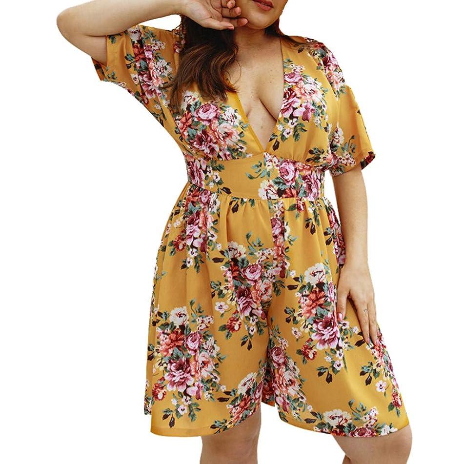 Vovotrade Women Plus Size Floral Chiffon Playsuit Clubwear Bodycon Party Jumpsuit Romper