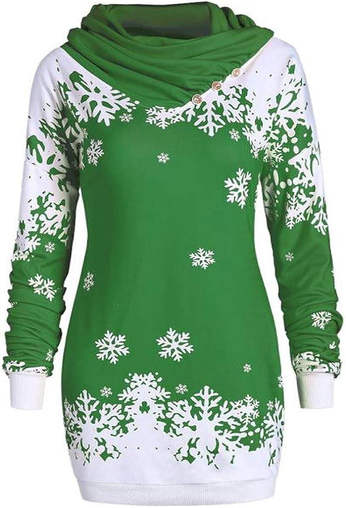 Cowl Neck Sweatshirts for Austin Mall Women Print Christmas Merry Cheap Snowflake
