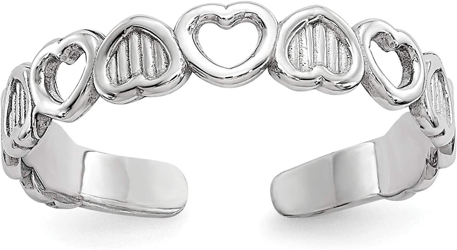 14k White Gold Open and Solid Textured Inverted Hearts Toe Ring