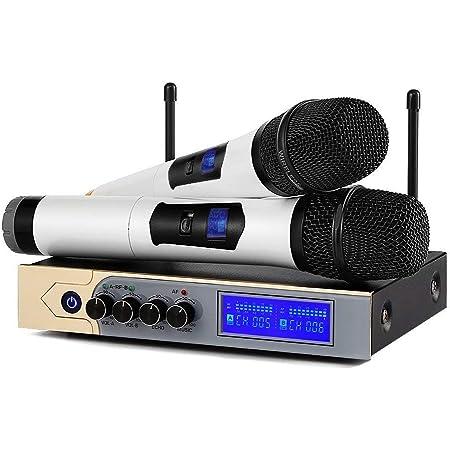 Karaoké Micro sans fil,ARCHEER Microphone sans fil UHF Bluetooth Echo Professionnel 2 Micro HF + 1 Récepteur avec 1 Câble Audio de 6,35 mm 2 Canaux pour Chant Conférence Spectacle Bar Réunion