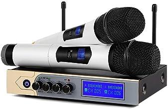 Micrófono Inalámbricos Bluetooth,Sistema de Micrófono Inalámbrico de Mano UHF Micrófono Dinámico de Karaoke Portátil con Pantalla LED para Reuniones/Bodas/Clases/Fiesta/Entretenimiento interior