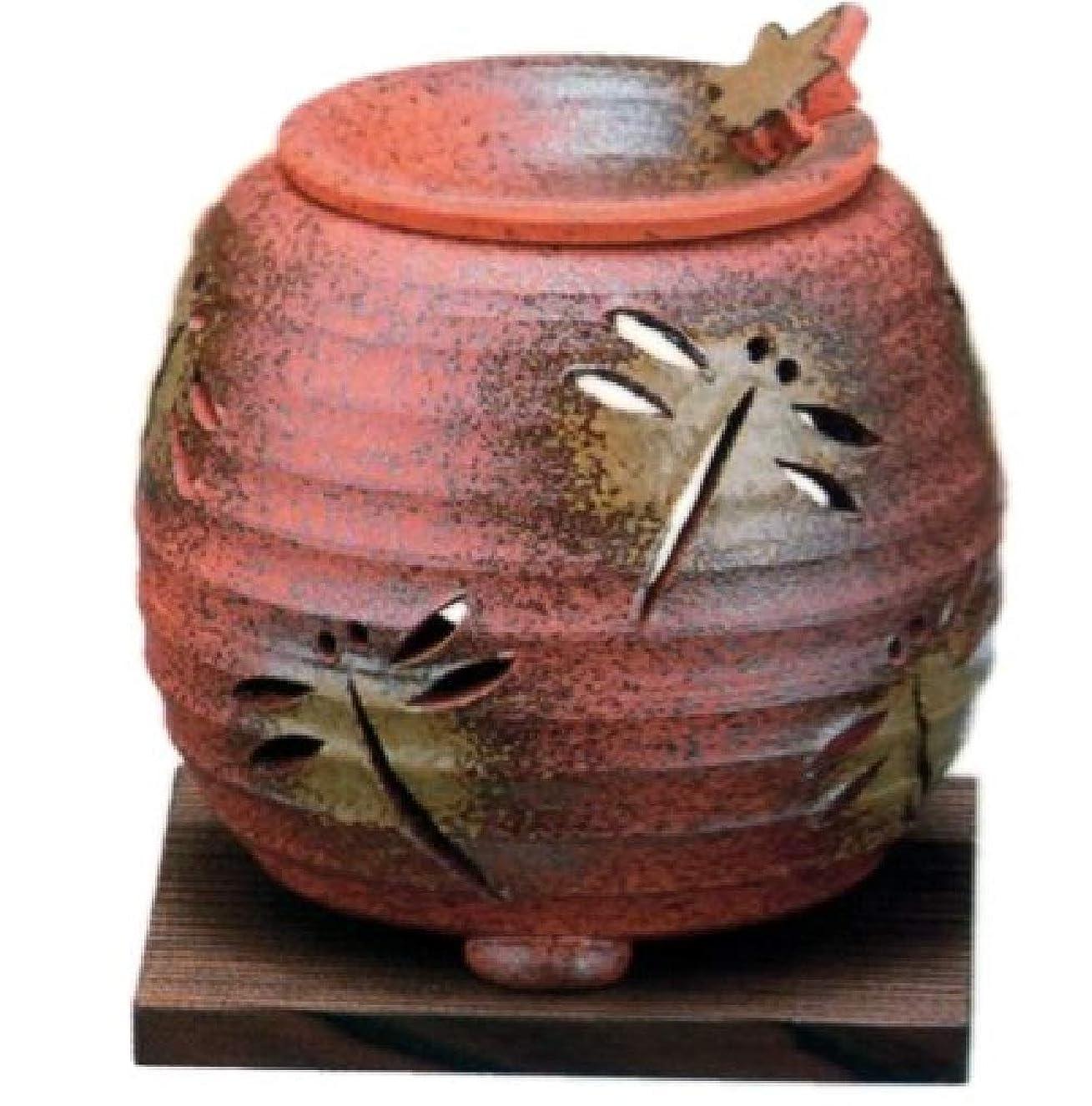 計算するトリップテロリスト常滑焼?石龍窯 カ38-07 茶香炉 トンボ 焼杉板付 約φ11×11cm