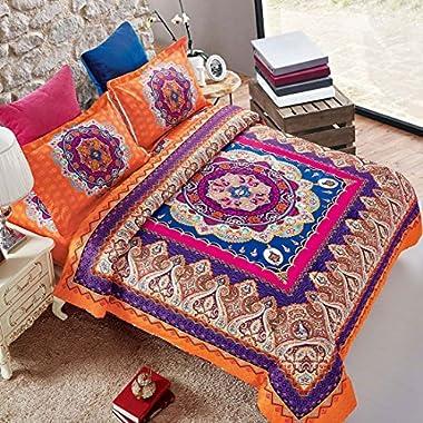 Wake In Cloud - Mandala Comforter Set King, 3-Piece Orange Bohemian Boho chic Medallion Pattern Printed, Soft Microfiber Bedding (3pcs, King Size)