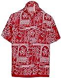 LA LEELA Casual Hawaiana Camisa para Hombre Señores Manga Corta Bolsillo Delantero Surf Palmeras Caballeros Playa Aloha M-(in cms):101-111 Blood Rojo_W469