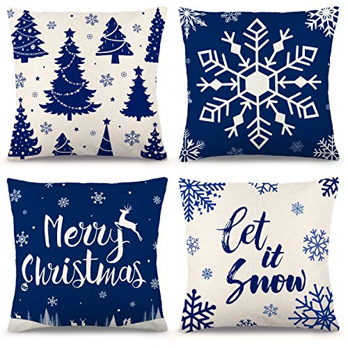 ZJHAI Christmas Blue Pillow Covers 18×18 Inch Set of 4 Farmhouse Pillow Covers Holiday Rustic Linen Pillow Case for Sofa Couch Christmas Blue Decorations Throw Pillow Covers