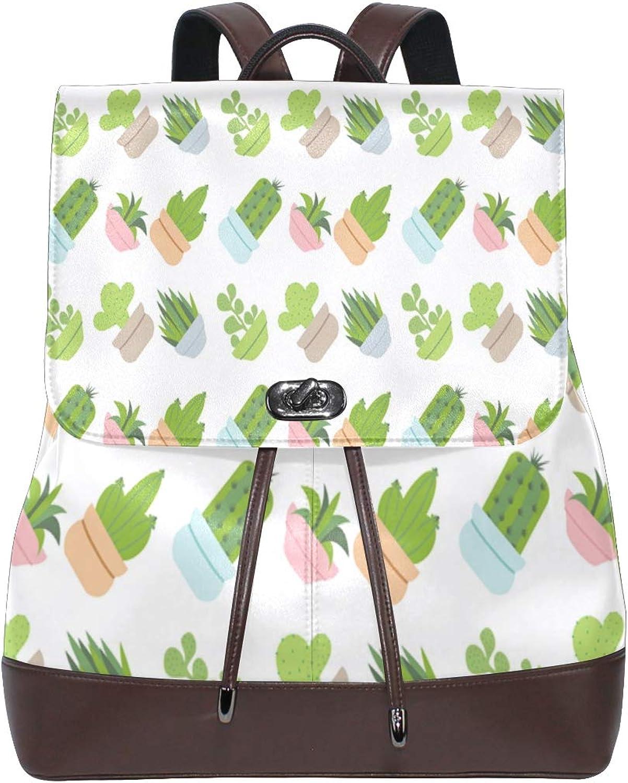 DEZIRO Leather Watercolor Meat Plant Pattern School Pack Backpacks Travel Bag