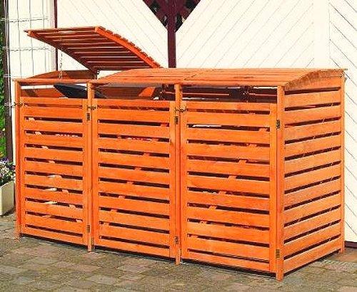 Mülltonnenbox VARIO III Müllbox Dreifachbox für 3 Mülltonnen Kiefer HONIGBRAUN