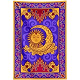 """Sun and Moon Tapestry Wall Hanging,Magic Carpet Tapestry for Bedroom, Wonderful Magical Flying Carpet Wall Tapestry,Golden Burning Sun with Moon Psychedelic Mystic Faces Small Tapestry 40""""x60"""""""
