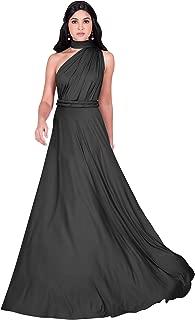 Womens Long Bridesmaid One Shoulder Convertible Wrap Cocktail Maxi Dress