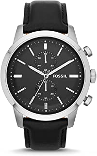 Fossil Men's FS4866 Townsman Stainless Steel Chronograph Watch With Black Leather Band
