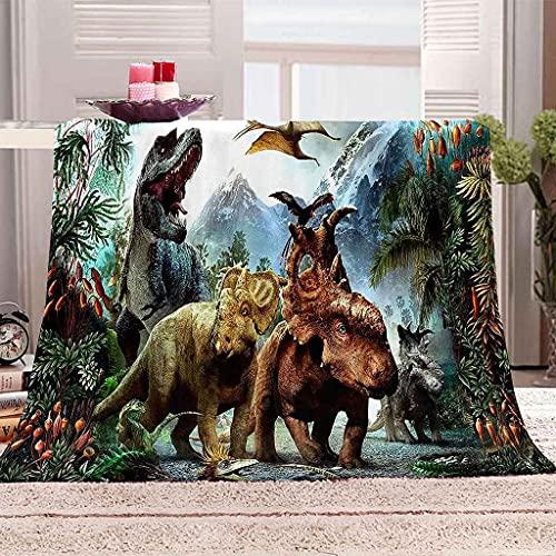 WOISUM Decke Kuscheldecke Tier Dinosaurier Microfaser Flanelldecke für Kinder & Erwachsene Tagesdecke Sofadecken 3D-Druck Weiche Leichte Durable Reisen Flauschig Warmen Steppdecke