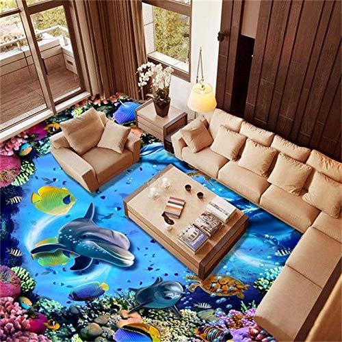 Foto Personalizada Pintura De Piso Mundo Submarino Dolphin Coral Piso 3D Pintura Tridimensional Azulejos-150X105Cm 3D Pegatinas De Suelo 3D De Estar Dormitorio Baño Piso Mural Autoadhesivo Papel Pin