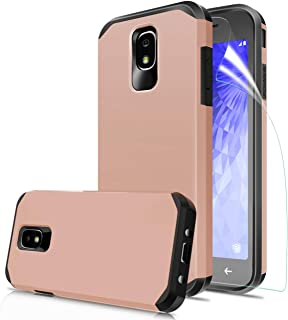 Samsung Galaxy J3 2018/J3 Achieve/J3 Orbit/J3 Star/J3 V 3rd Gen/J3 Express Prime 3/Amp Prime 3 Phone Case with Screen Protector,Dual Layer Slim Fit Shockproof Protective Cover for Women/Girl,Rose Gold