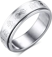 XUANPAI 6MM Stainless Steel Tibetan Buddhist Mantra Om Mani Padme Hum Spinner Ring,Size 6-10