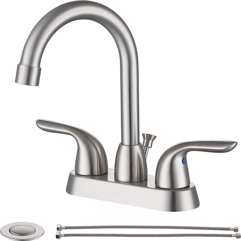 SOKA 20 Handle Bathroom Faucet Brushed Nickel, 20 Inch Brushed ...