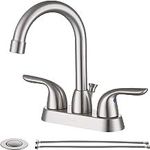 "SOKA Centerset Bathroom Sink Faucet Two Handles High Arc 4"" Lavatory Bath With Deck Plate & Pop-Up Drain Fit 3 Hole Instal..."