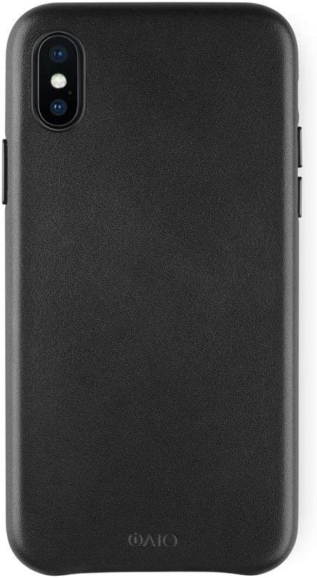 iATO iPhone X Black Leather Case - Premium Protective Real Cowhide Back Cover - Unique, Stylish & Classy Genuine Snap On Shockproof Bumper for iPhone X / 10 (2017) | Supports Wireless Charging