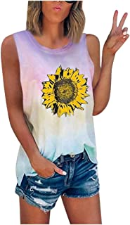 Sengei Sunflower Tie-Dye Shirts for Women Plus Size Summer Sleeveless O-Neck Shirt Blouse Loose Tank Tops Tee