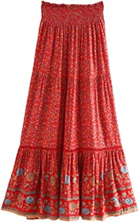 YWSZJ Vintage Chic Women Stampa Floreale Skirt Beach Skirt High Elastic Waist Rayon Cotone (Size : S Code)