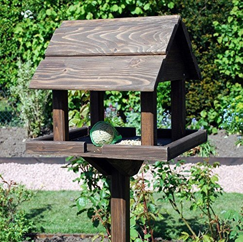 garden mile Traditional Premium Wooden Bird Table Garden Birdhouse Sheltered Feeding Station Portable Free Standing Feeding Table Station Bird House (Premium Bird Table Feeding Station)