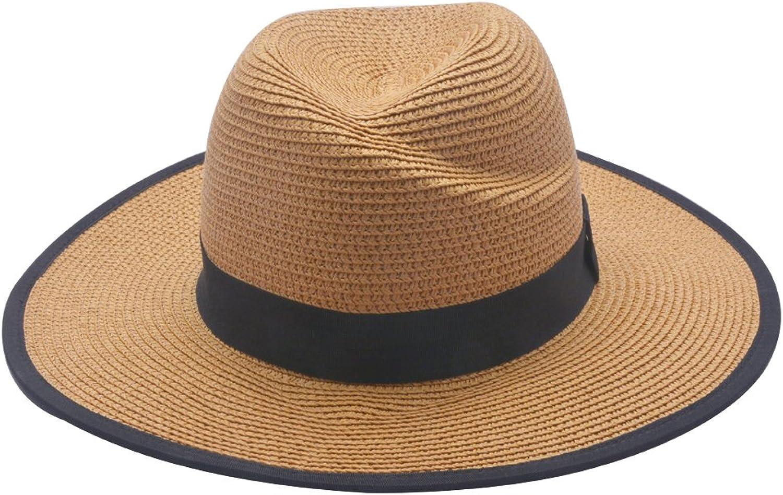 Lenikis Unisex UV Predection Hat Packable & Adjustable Straw Hat Fedora Beach Sun Hat